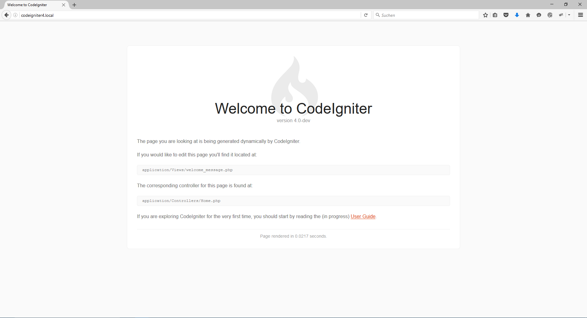 CodeIgniter 4: Welcome-Screen