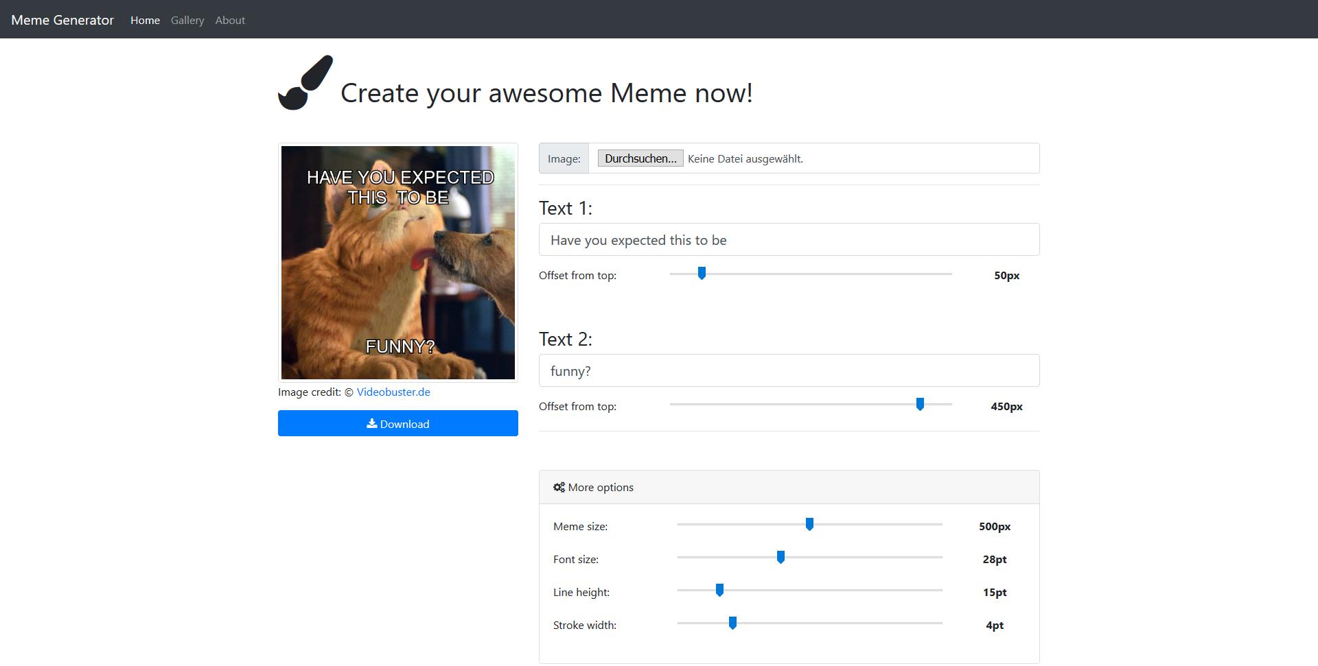 Meme-Generator mit Canvas und jQuery